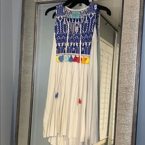 Judith March Dress with Embroidery & Tassels